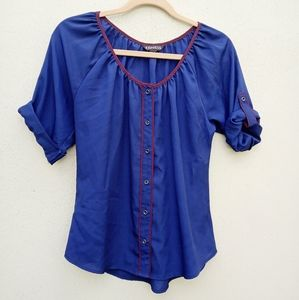 Express Blue Blouse Short Sleeves Size XS